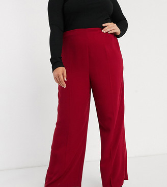 ASOS DESIGN Curve wide leg trousers with clean high waist