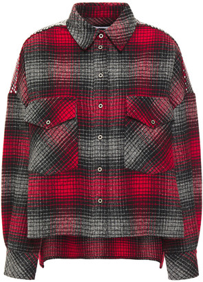 IRO Ilave Oversized Studded Checked Cotton-blend Flannel Shirt