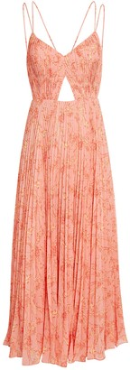 AMUR Lucy Pleated Maxi Dress