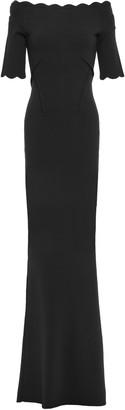 Rachel Gilbert Scalloped Textured-knit Gown