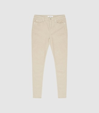 Reiss Lux Cord - Mid Rise Skinny Corduroy Trousers in Stone