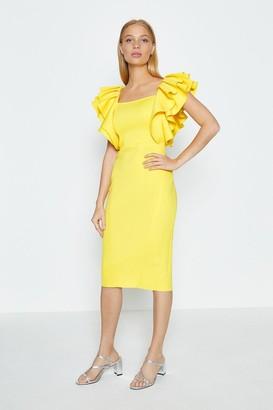 Coast Square Neck Ruffle Shoulder Midi Dress