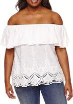 Boutique + + Off the Shoulder Woven Blouse-Plus
