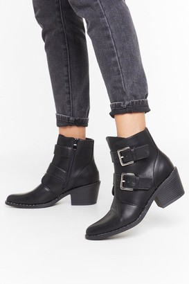 Nasty Gal Womens Try Your Buck-le Faux Leather Ankle Boots - Black