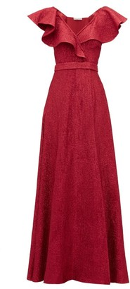 Vika Gazinskaya Ruffled Wool-blend Lame Gown - Red