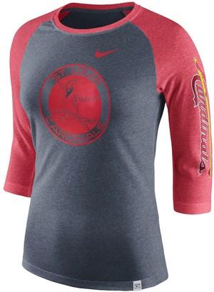 Nike Women's Heathered Navy/Heathered Red St. Louis Cardinals Vintage Logo Tri-Blend 3/4-Sleeve Raglan T-Shirt