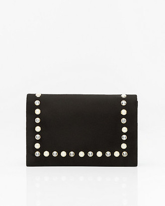 Le Château Pearl Embellished Flapover Clutch