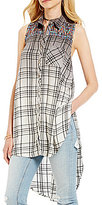 Miss Me Ombre Plaid Sleeveless Embroidered Button-Down Tunic