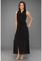 DKNY DKNYC - Sleeveless Button Thru Maxi (Black) - Apparel