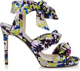 Jimmy Choo KRIS 100 Apple and Lilac Camoflower Print Satin Knotted Sandals