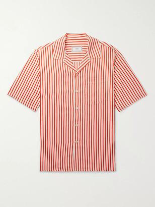 Ami Camp-Collar Striped Twill Shirt