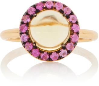 Rosa de la Cruz 18K Gold, Quartz And Sapphire Ring