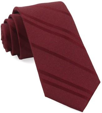 Tie Bar Wool Path Stripe Burgundy Tie