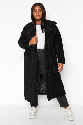 boohoo Plus Teddy Faux Fur Trench Coat