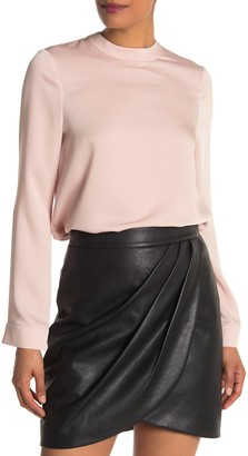 BCBGMAXAZRIA Mock Neck Satin Finish Blouse