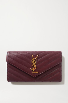 Saint Laurent Quilted Textured-leather Wallet - Burgundy