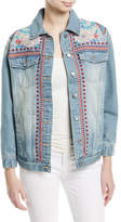 Johnny Was Oman Embroidered Denim Jacket, Petite
