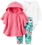 Carter's Baby Girl Poncho, Bodysuit & Leggings Set