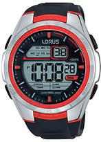 Lorus R2313lx9 Digital Chronograph Silicone Strap Watch, Black/grey
