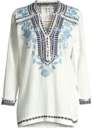 Johnny Was Vedera Gauze Floral-Embroidered Boho Tunic