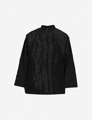 Black Comme Des Garcon Mandarin-collar crinkled wool-blend shirt