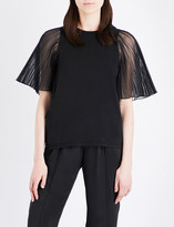Clu Pleated-sleeve chiffon and cotton-jersey top