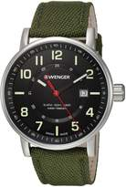 Wenger 01.0341.107 Men's Attitude Black Dial Green Nylon Strap Watch
