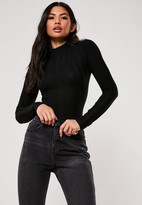 Missguided Tall Black Extreme Ribbed High Neck Bodysuit