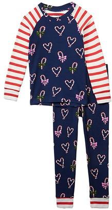 Hatley Candy Cane Hearts Raglan PJ Set (Toddler/Little Kids/Big Kids) (Blue) Girl's Pajama Sets