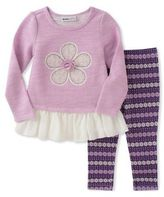 Kids Headquarters Baby Girls Two-Piece Flower Top and Leggings Set