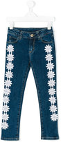 Paesaggino - floral appliquéd jeans - kids - Cotton/Spandex/Elastane - 4 yrs