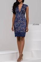 Jovani Sheer Plunging Neckline Lace Sheath Dress 20090