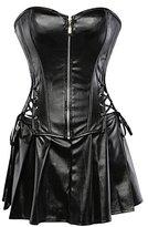 AIZEN Gothic Zip Faux Leather Bustier Corset Skirt Mini Dress Steampunk Clothing For Women Plus