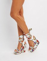Charlotte Russe Bamboo Floral Lace-Up Wedge Sandals