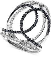 Effy Black and White Diamond Swirl Ring (3/4 ct. t.w.) in 14k White Gold