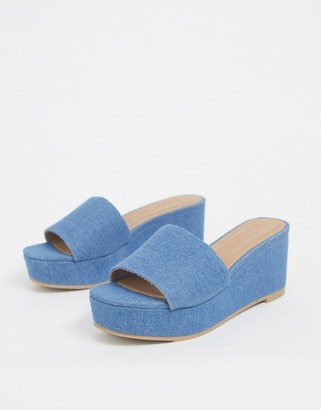 ASOS DESIGN Tazlin demi wedges in denim
