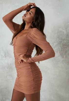 Missguided Tan Mesh Ruched Mini Dress