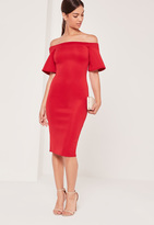 Missguided Bonded Scuba Midi Dress Red