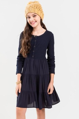 francesca's franki Tiered Button Front Mini Dress for Girls - Navy