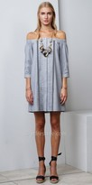 Greylin Leslie Off the Shoulder Woven Shirt Dress