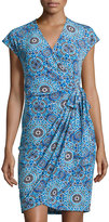 Maggy London Cap-Sleeve Jersey Wrap Dress, Blue Pattern