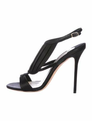 Olgana Paris Satin Round-Toe Sandals Black