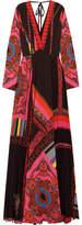 Etro Open-back Printed Plissé-crepe Maxi Dress
