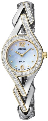 Seiko Womens 2-tone Crystal-Accented Solar-Powered Bracelet Watch