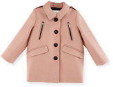 Burberry Gwen Wool Button-Front Peacoat, Pale Ash Rose, Size 6M-3Y
