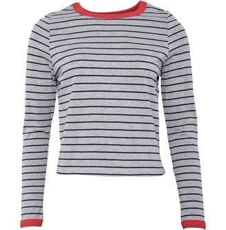 Brave Soul Womens Nellie Long Sleeve T-Shirt Navy/Grey Marl/Red