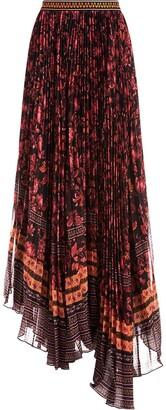 Alice + Olivia Asymmetric Mesh Panel Skirt