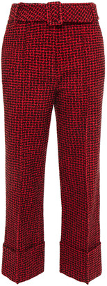 Alexander Wang Cropped Belted Tweed Straight-leg Pants