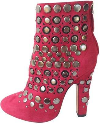 Alaia Red Suede Ankle boots