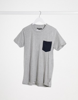 French Connection check pocket t-shirt in gray